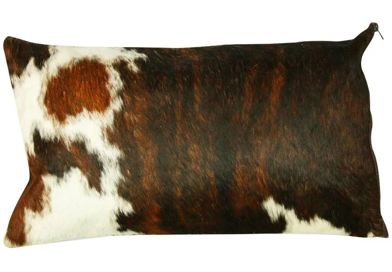 authentic cowhide lumbar pillow cover