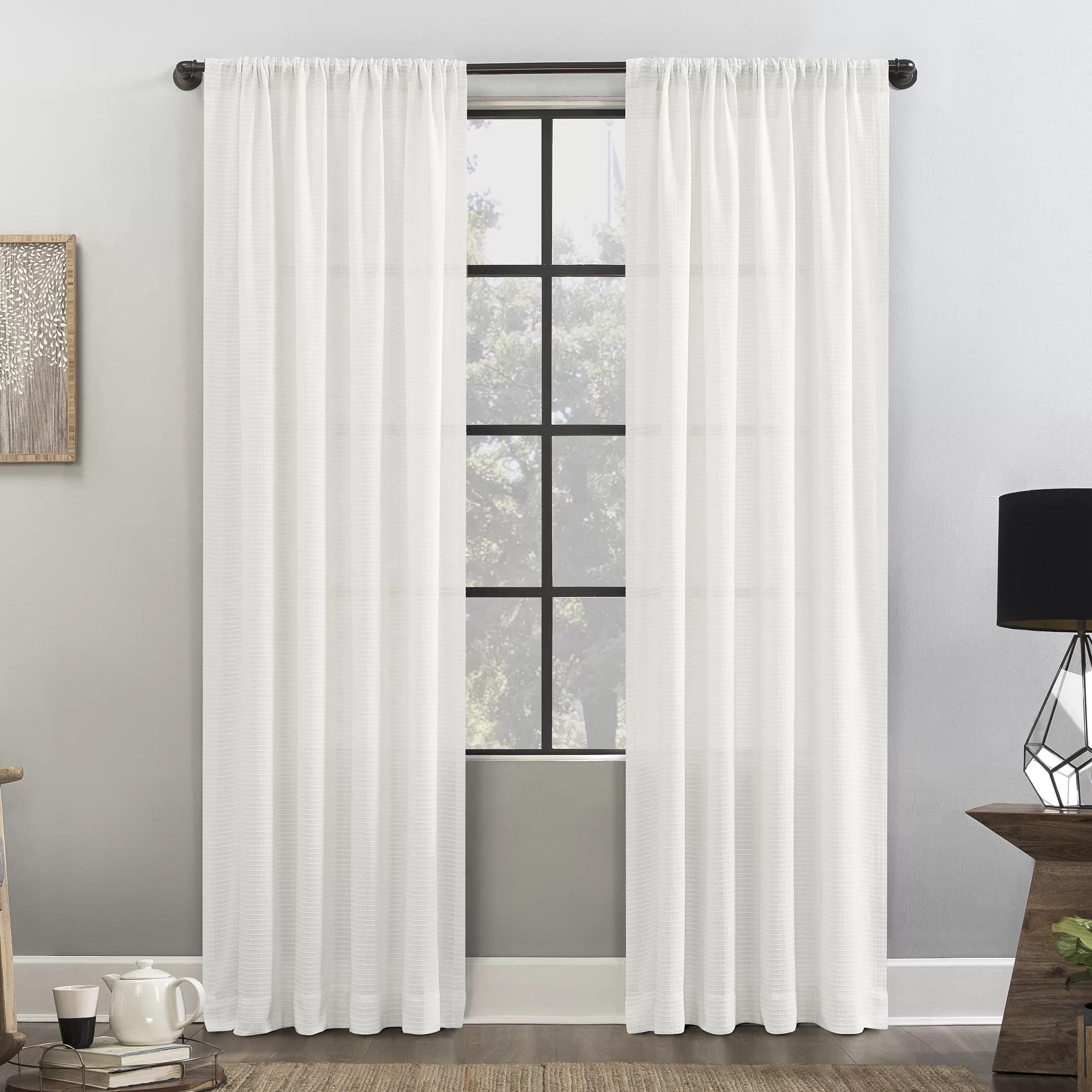 waffle texture anti dust solid color semi sheer rod pocket single curtain panel