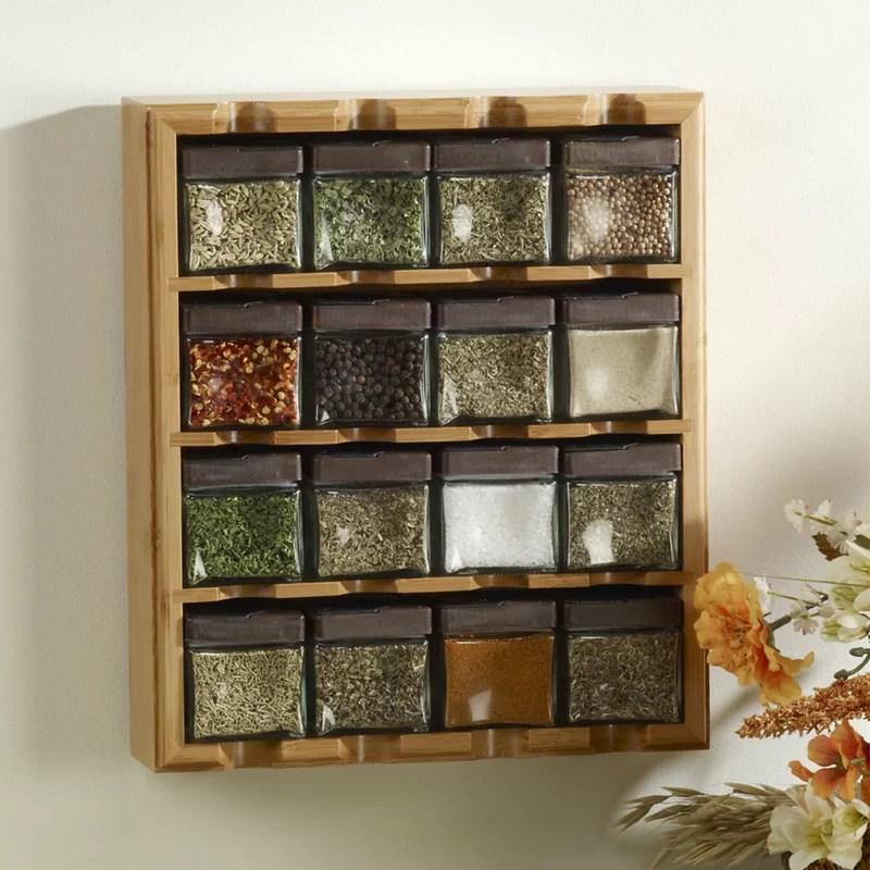 bamboo inspirations 16 jar spice jar rack set