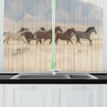 East Urban Home 2 Piece Landscape Wild Mustang Horses Herd Running In A Valley Utah Outdoor Scenery Photography Kitchen Curtains Set Wayfair