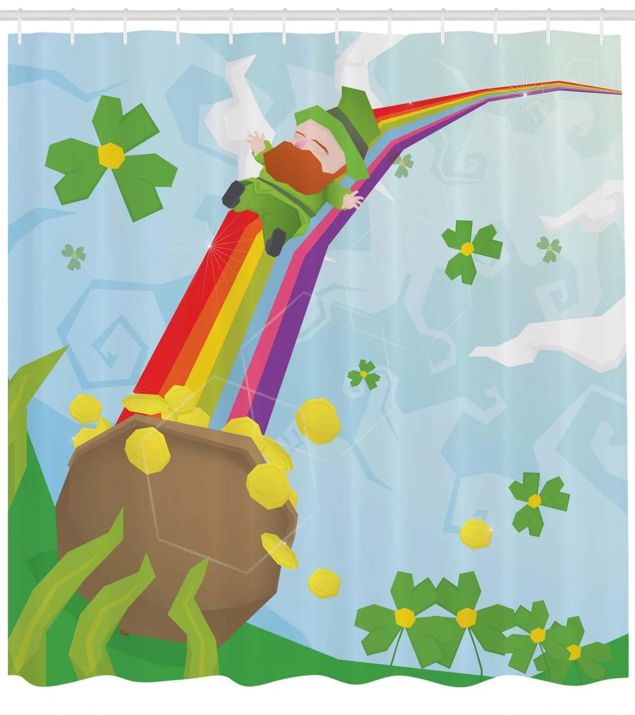 st patrick s day abstract cartoon happy leprechaun sliding down rainbow gold and shamrock single shower curtain