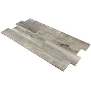 large interlocking glazed random sized porcelain wood look tile in gray