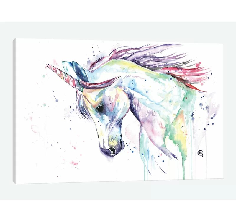 East Urban Home Kenzie S Unicorn Print On Wrapped Canvas Reviews Wayfair