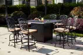 Fleur De Lis Living Batty 9 Piece Bar Height Dining Set With Cushions And Firepit