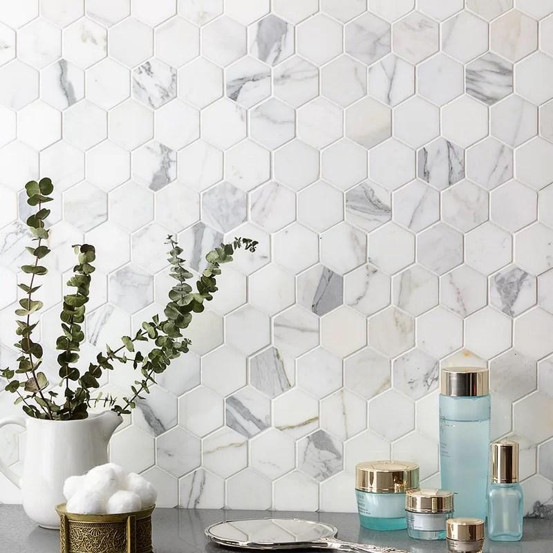 hexagon marble mosaic tile in white gray