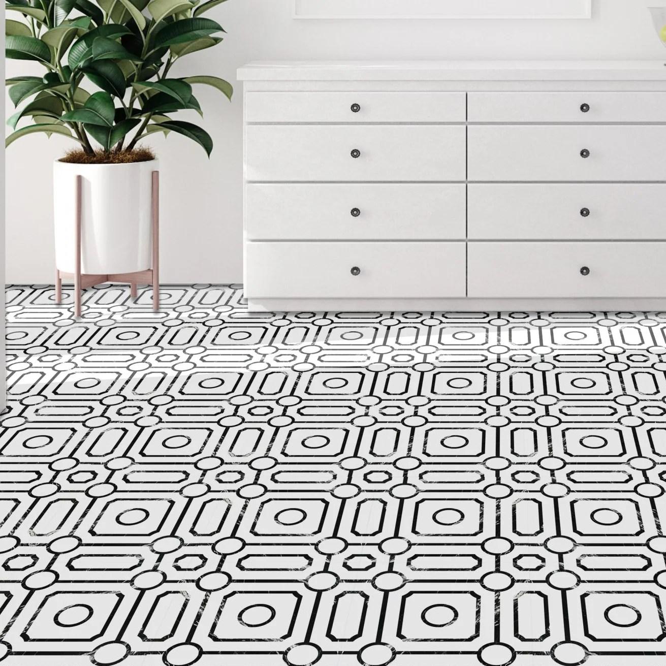 achim importing co retro 12x12 self adhesive vinyl floor tile carrera 20 tiles 20 sq ft reviews wayfair ca