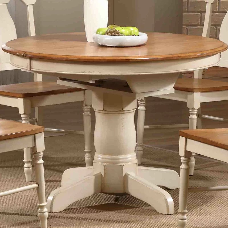 august grove flavia extendable solid wood dining table on solid wood dining table id=48634