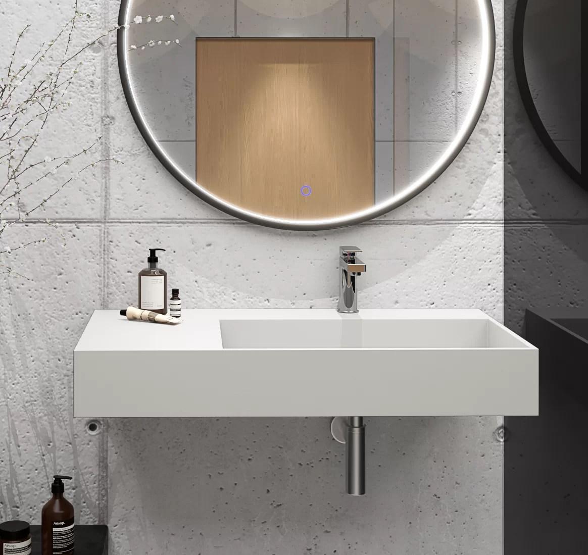 boyter stone rectangular wall mount bathroom sink