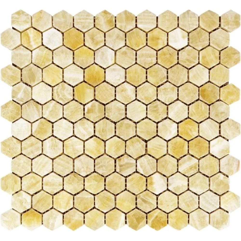 1 x 1 marble honeycomb mosaic wall floor tile