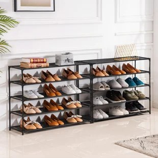 10 tiers shoe rack large shoe rack organizer for 50 pairs space saving shoe shelf non woven fabric shoe storage cabinet black