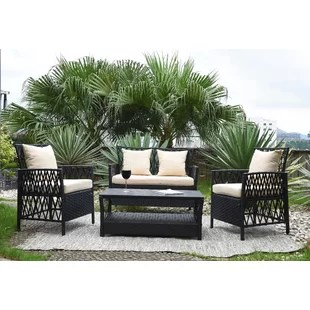 Outdoor Sofa Sets   Joss   Main Ackerson 4 Piece Sofa Set with Cushions
