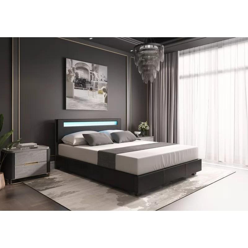 aughe upholstered low profile platform bed