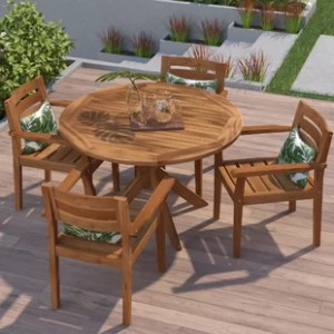 Wood Patio Dining Sets You ll Love   Wayfair Kaylie Wood 5 Piece Dining Set