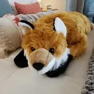 fuzzy fox bed backrest pillow