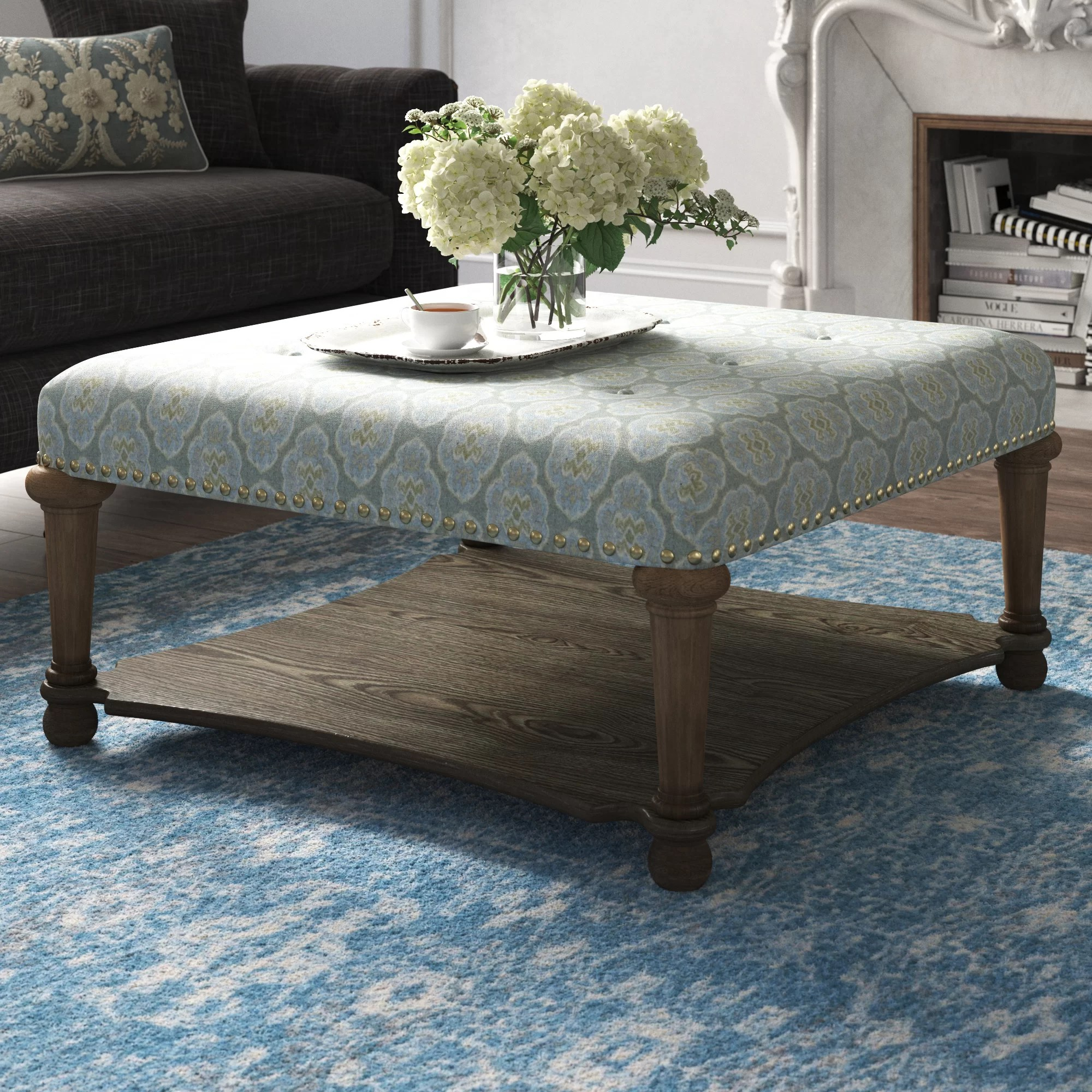 melrose 40 tufted square geometric cocktail with storage ottoman