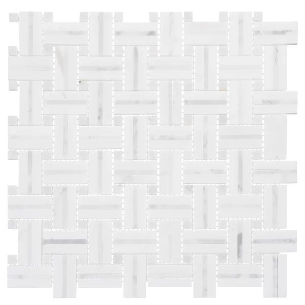 fabrique 1 x 2 natural stone marble basketweave mosaic wall floor tile