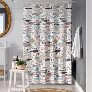 cotton printed single shower curtain