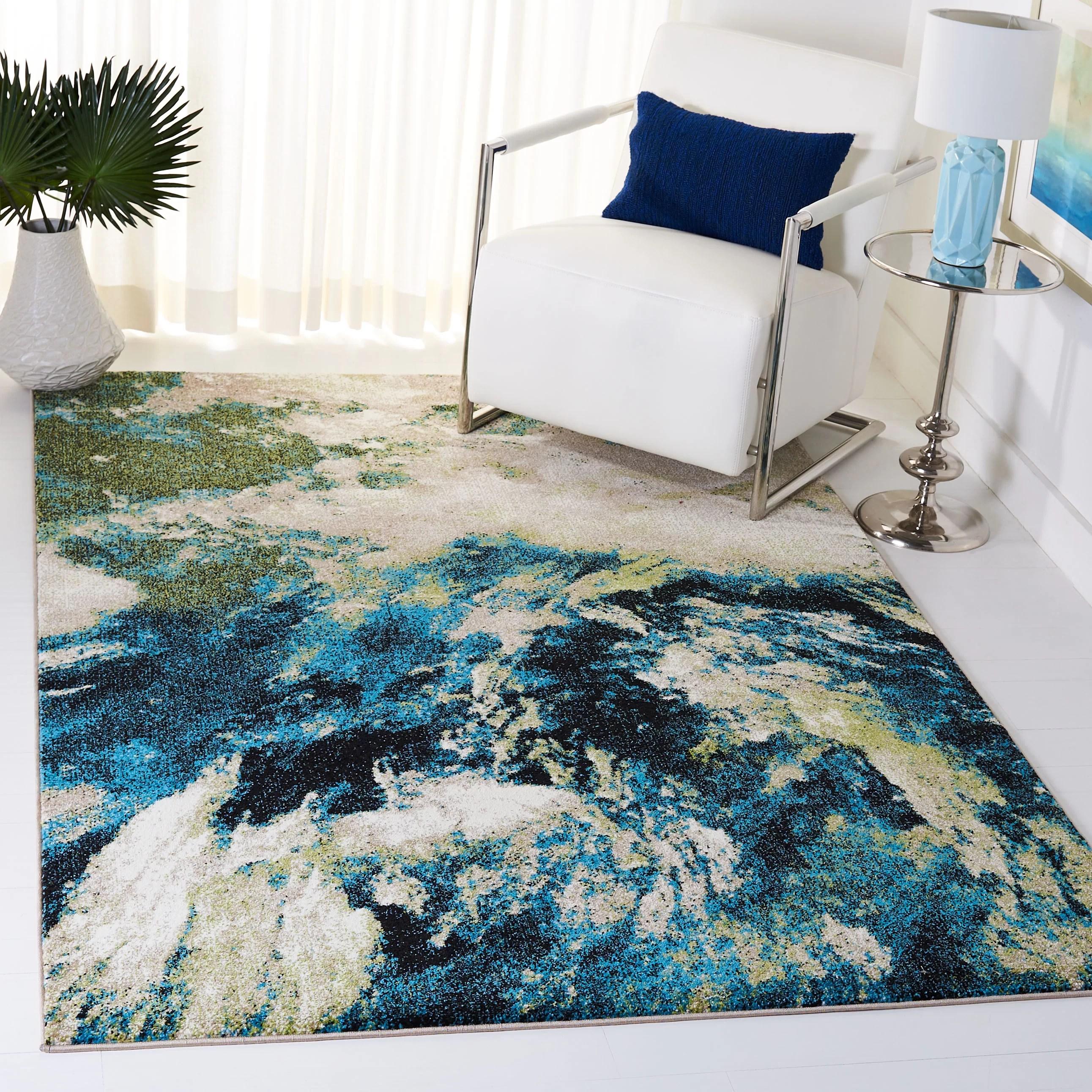 dowlen abstract navy green area rug