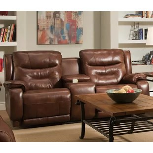 Crescent Leather Reclining Loveseat