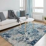 Williston Forge Brittni Abstract Blue Beige Area Rug Reviews