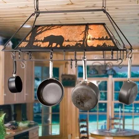 bear at lake handcrafted hanging pot rack