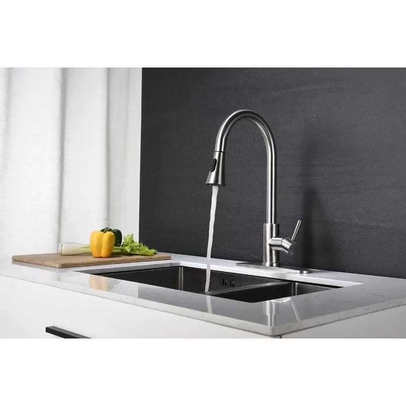 high arc pull out single handle kitchen faucet with pull down sprayer