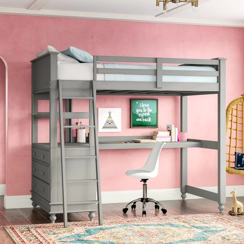 Harriet Bee Javin Loft Bed With Desk Amp Reviews Wayfair