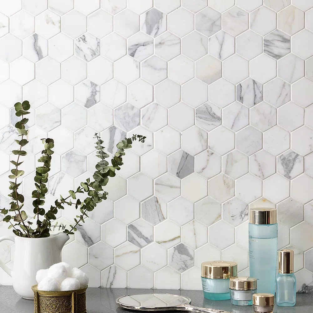 https www wayfair com home improvement pdp ivy hill tile hexagon marble mosaic tile in whitegray sost1103 html