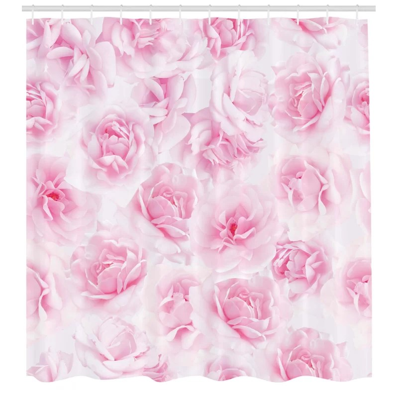 rose shower curtain set hooks