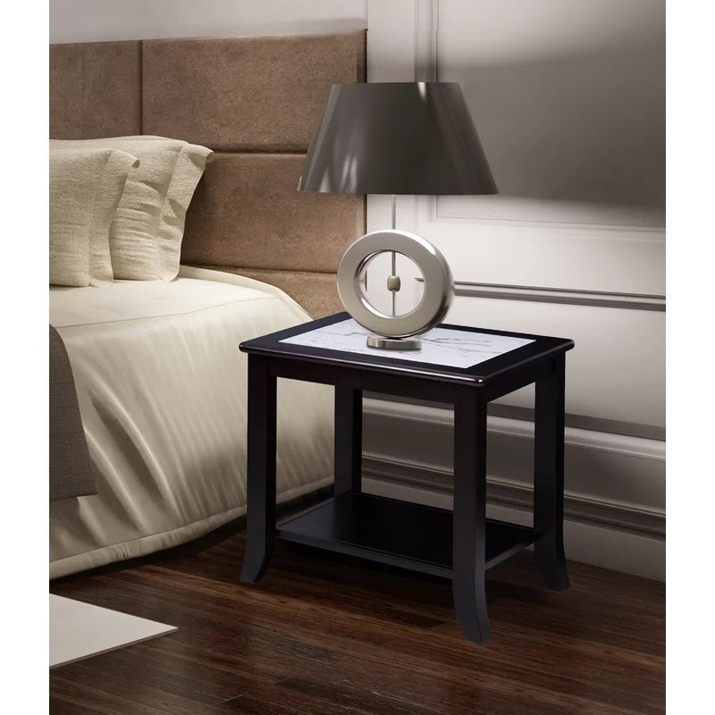 chisholm natural marble top wood end table