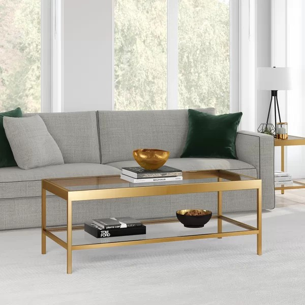 polished brass coffee table