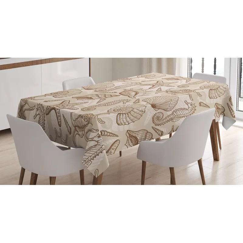 ambesonne beige tablecloth exotic marine animals in retro style illustration shells starfish seahorse contemporary rectangular table cover for