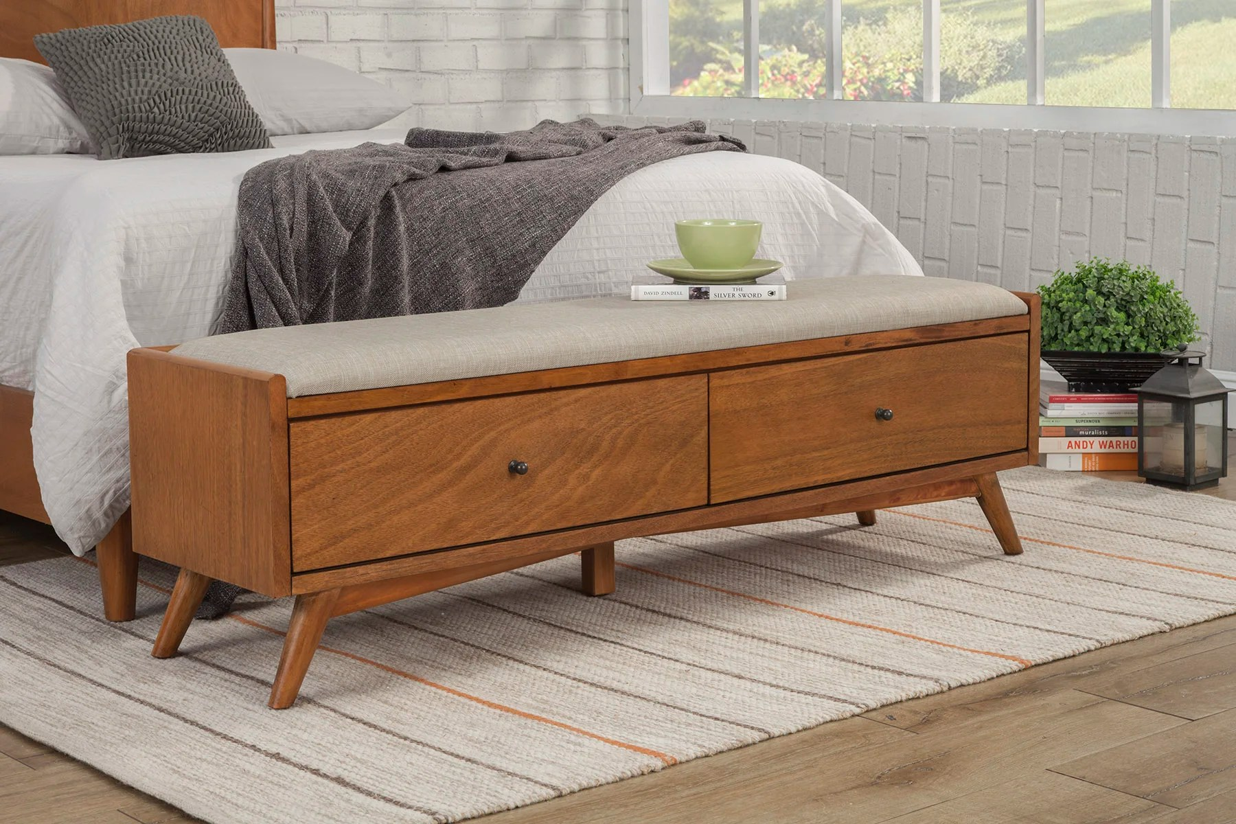 An elegant rustic style bench of oak wood with a natural lacquer finish. storage benchdining benches joss main