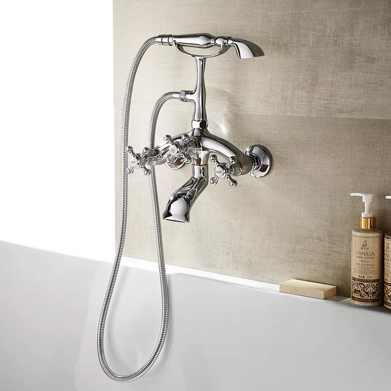 juniper double handle wall mounted clawfoot tub faucet trim with diverter and handshower