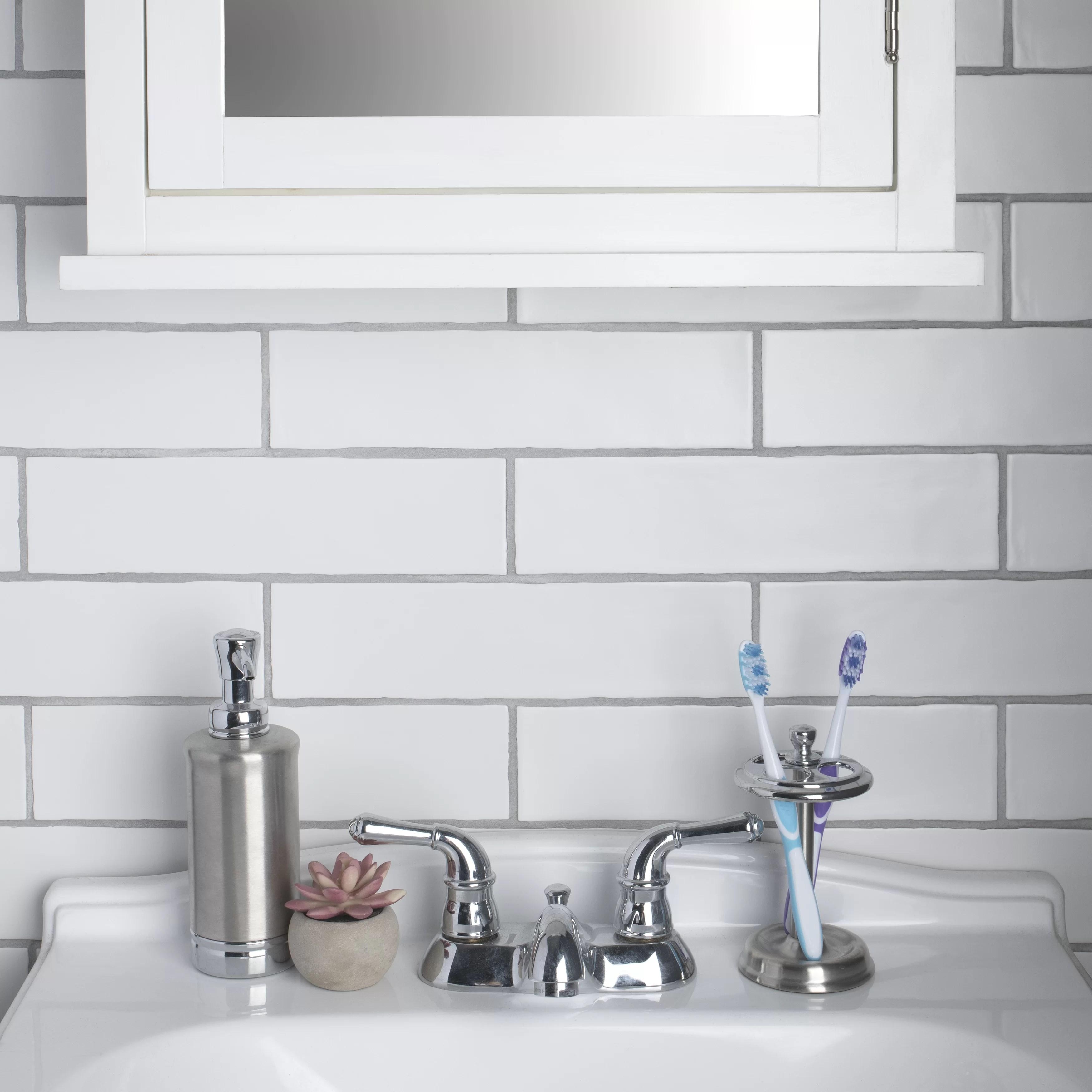 wall tile backsplash white 2x8 artisan