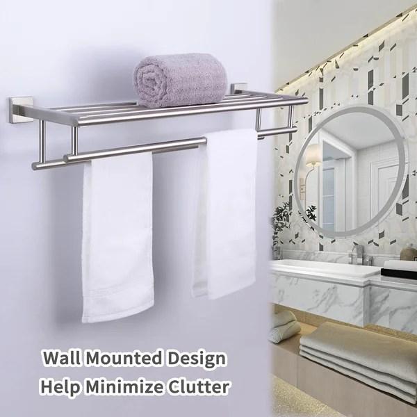 brushed nickel wall towel rack