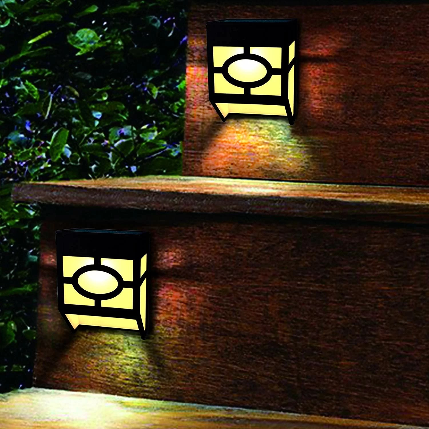 solar wall lights outdoor 2 modes solar led waterproof lighting for deck fence patio front door stair landscape yard and driveway path warm
