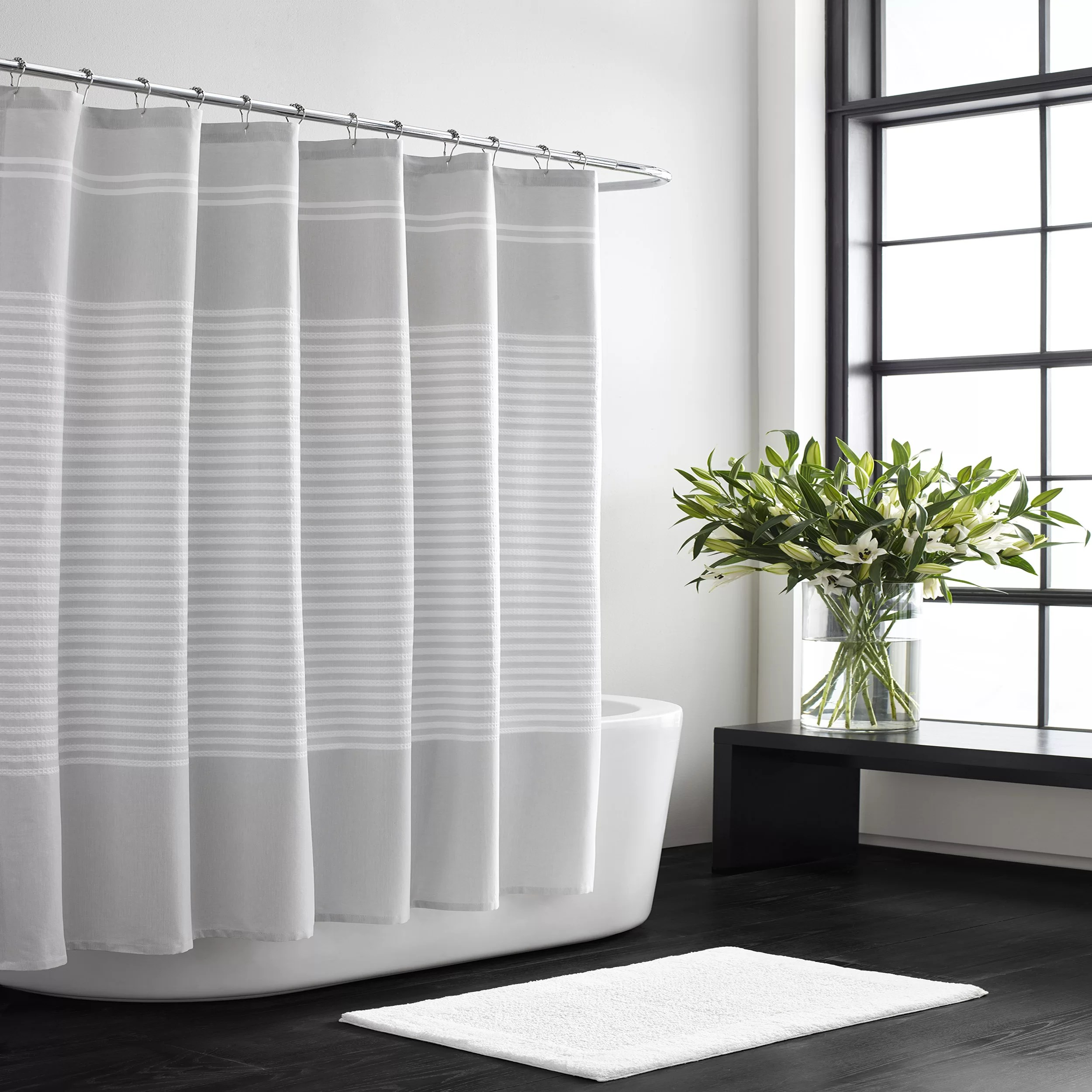 black gray silver shower curtains