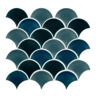 domino random sized fish scale mosaic wall floor tile
