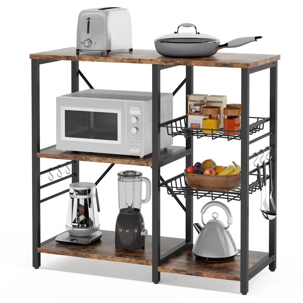 jackqueline rustic baker s rack microwave oven stand industrial utility storage cart organizer kitchen cart