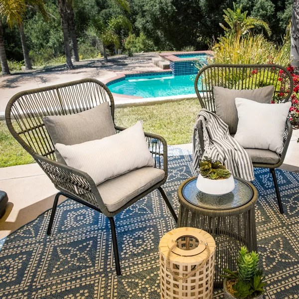 4 piece wicker patio conversation set