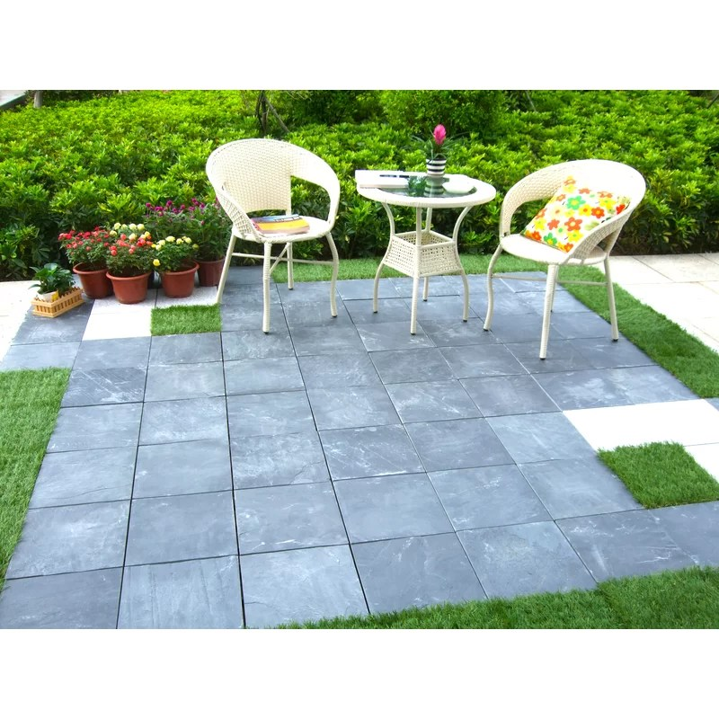 courtyard 11 8 x 11 8 stone interlocking deck tiles in gray