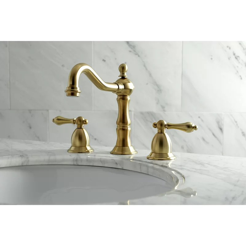 heritage widespread bathroom faucet with drain assembly