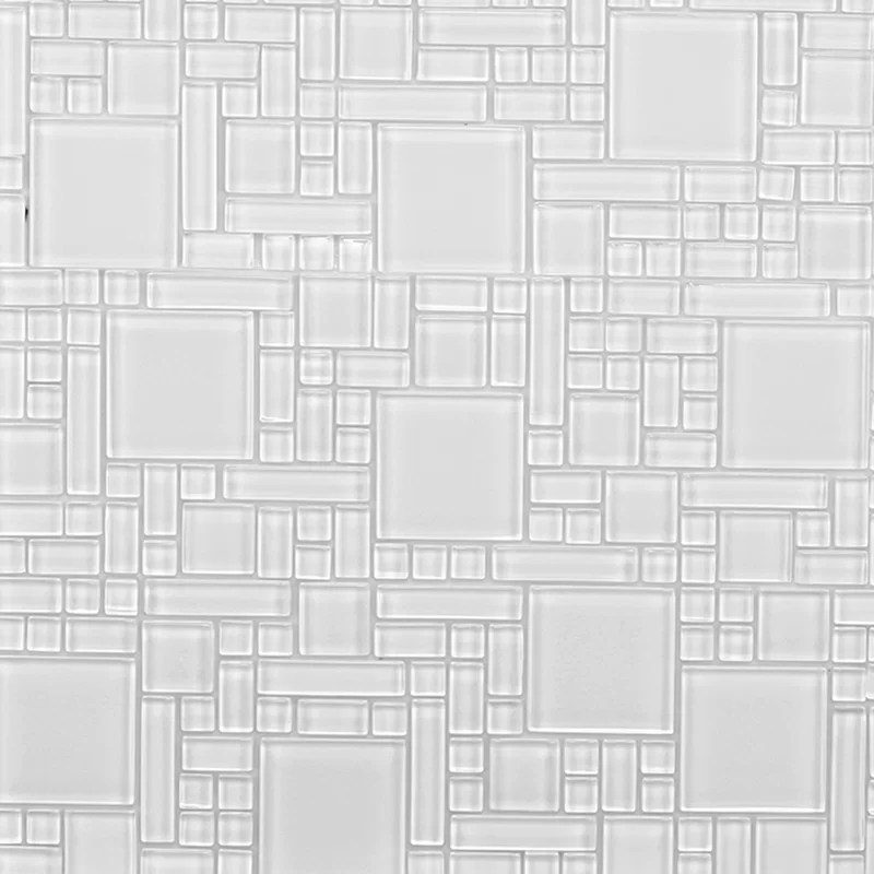 12 x 12 glass peel stick mosaic tile in pure white