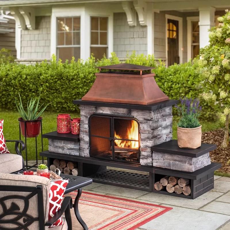 Red Barrel Studio® Adwolf Red Barrel Studio Bel Aire Wood ... on Quillen Steel Outdoor Fireplace  id=69242