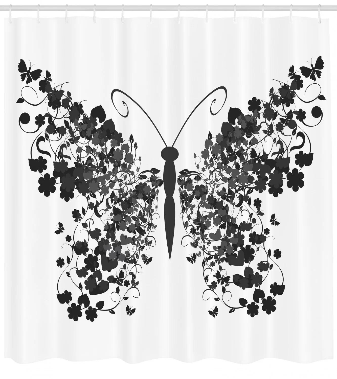 Butterfly Shower Curtain Set Hooks