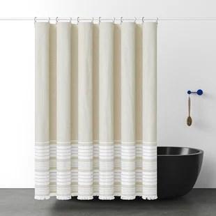 glosco cotton striped single shower curtain