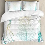 East Urban Home Feather House Aesthetic First Nations Feather And Peacock Tail Traditional Design Duvet Cover Set Wayfair