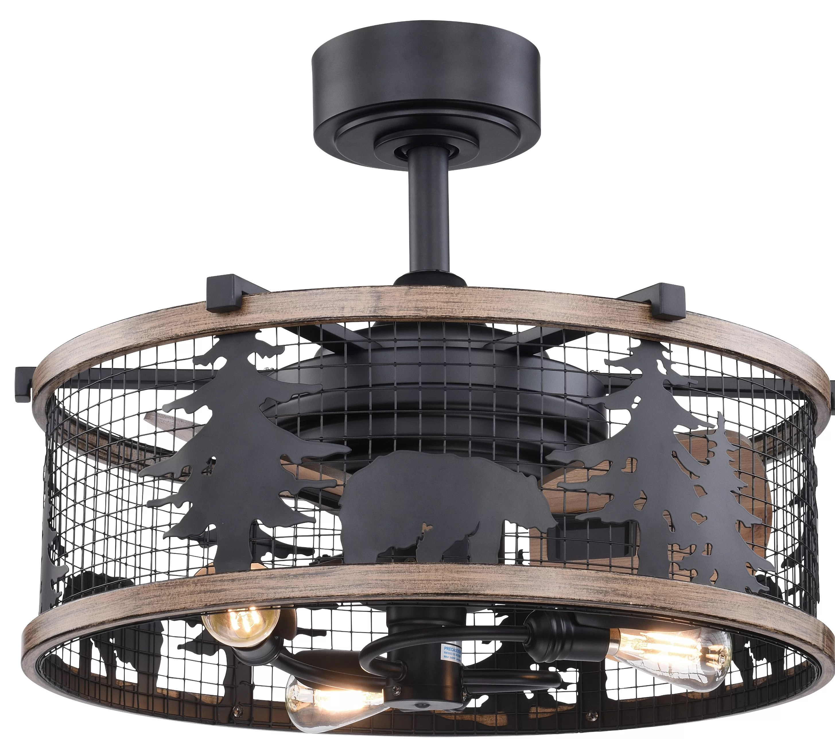 Millwood Pines 21 Sawyers 3 Blade Caged Ceiling Fan With Remote Control And Light Kit Included Reviews Wayfair