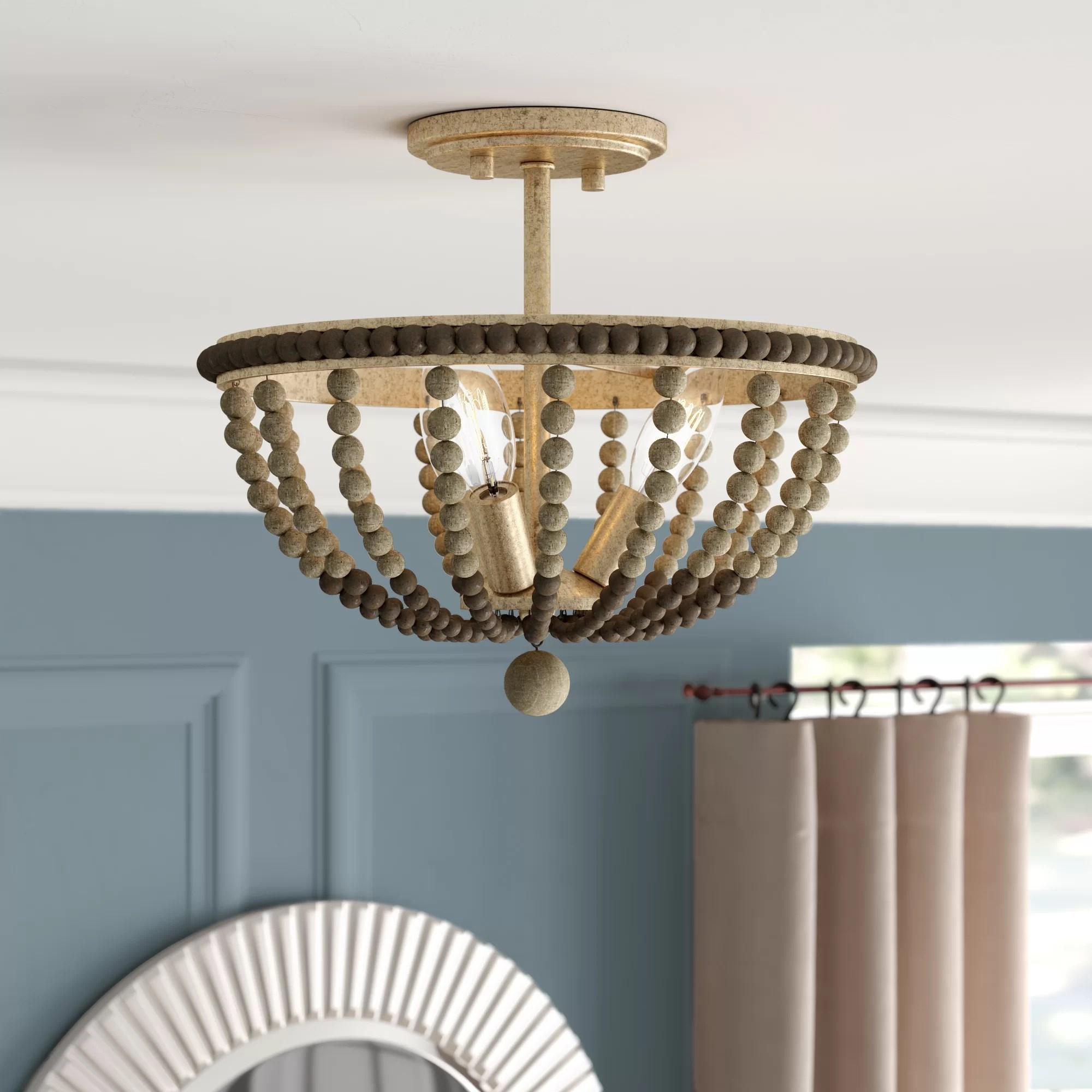 wood bead semi flush mount light image